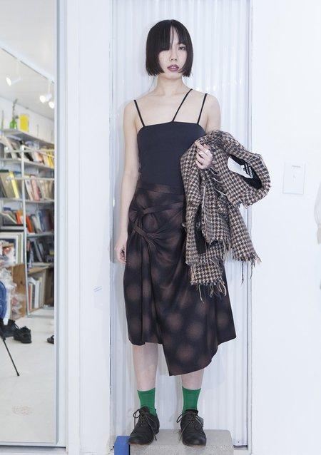 DRIES VAN NOTEN Wool Blend Wrap Skirt - Brown