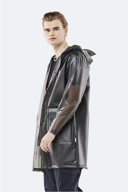 Unisex Rains Hooded Coat - Foggy Black