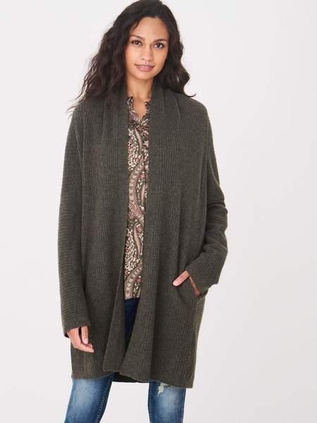 Repeat Cashmere Cardigan Long rib knit - KHAKI OLIVE