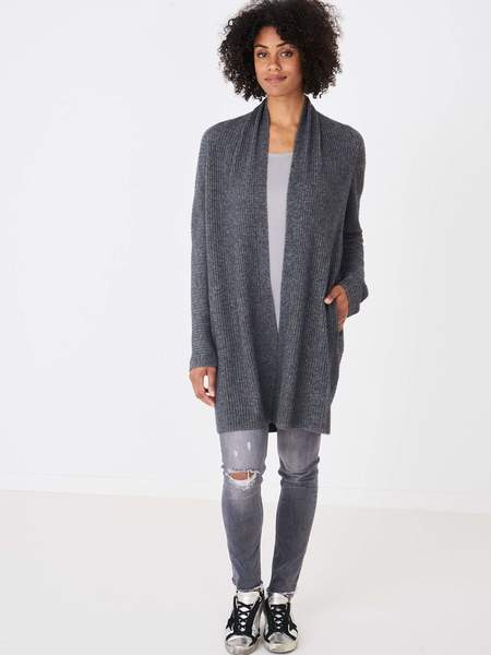 Repeat Cashmere Cardigan Long rib knit - med grey