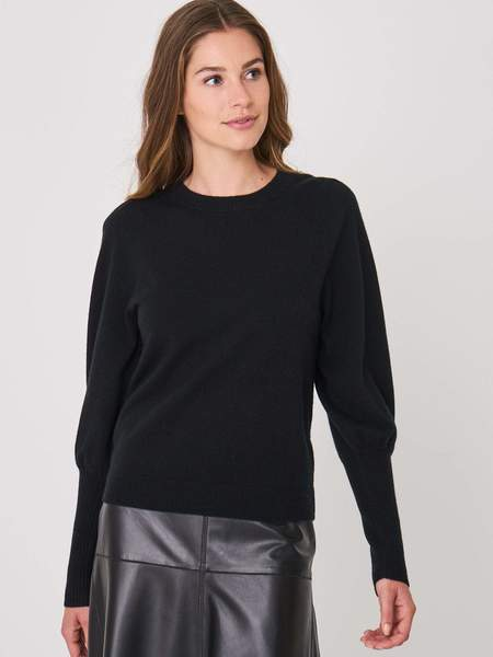 Repeat Cashmere CROPPED JUMPER WITH PUFF SLEEVES - BLACK