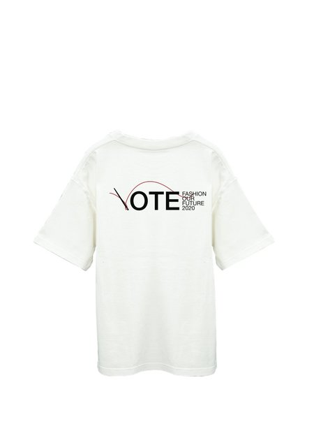 Unisex Off-White X Fashion Our Future White Cotton Model Voter T-Shirt - White