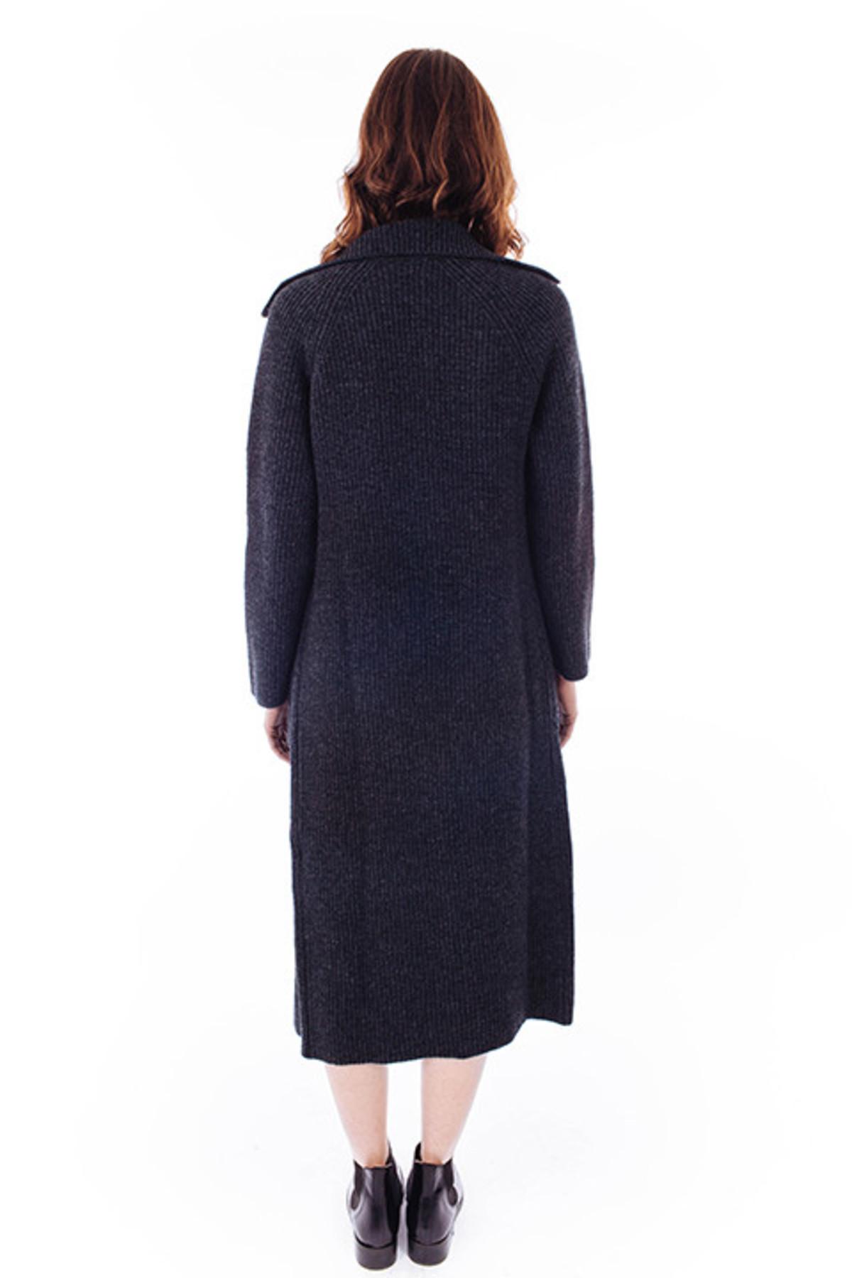 ACHRO Ribbed Sweater Coat in Charcoal | Garmentory