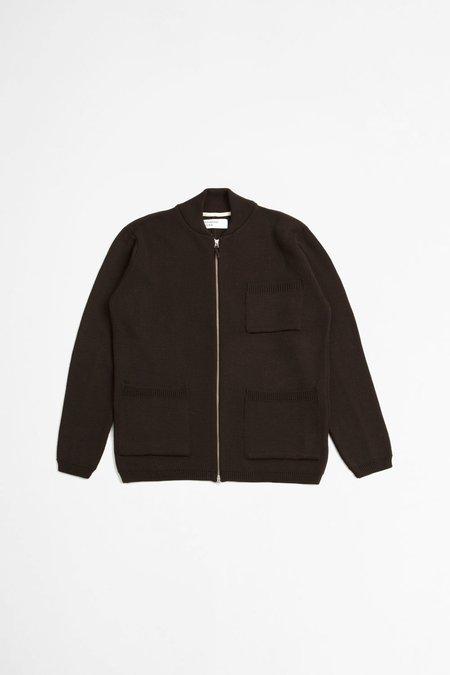 Universal Works Merino Zip Knit Work Jacket - Chocolate