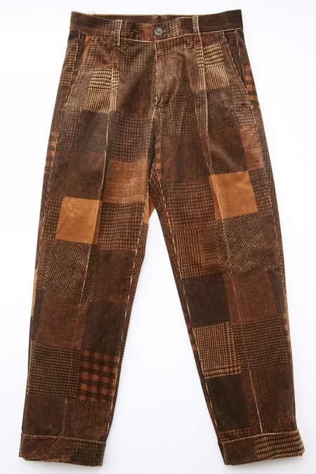 Beams Plus 1Pleat Corduroy Patchwork Print Pants - Brown