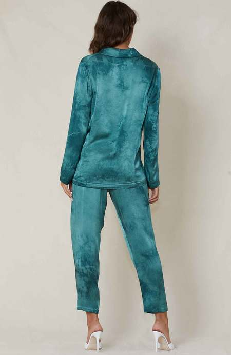 Raquel Allegra Crepe Satin Blazer - Teal Tie Dye