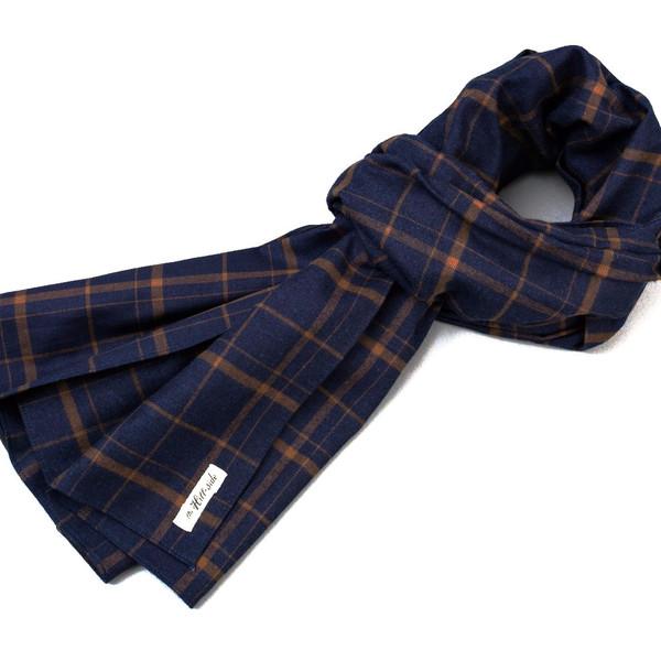Men's The Hill-Side Scarf / Indigo Brown Check Flannel