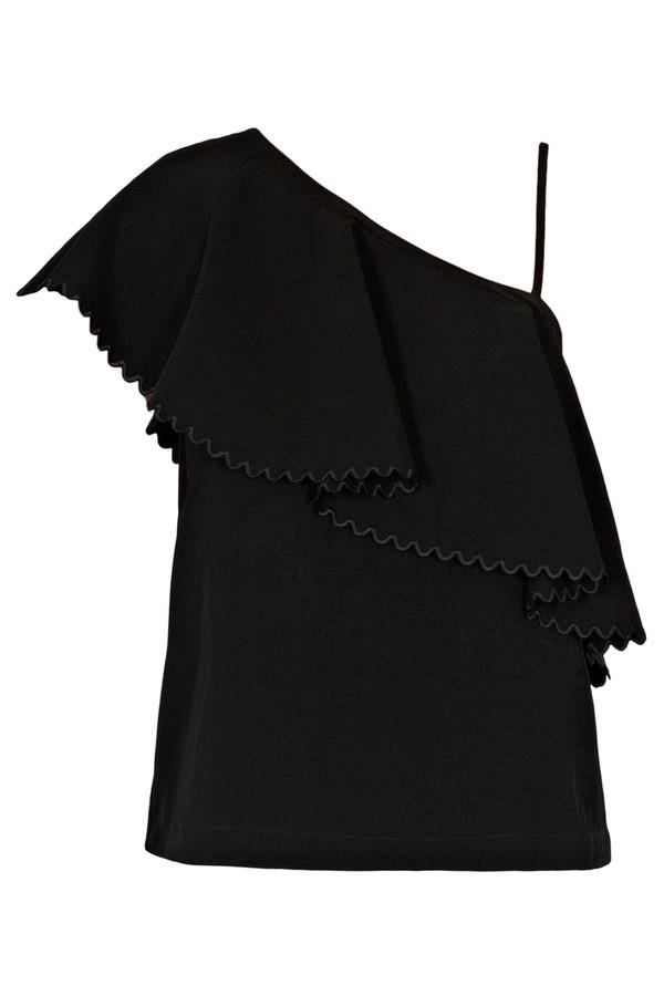 Rodebjer One-Shoulder Wep Top Black