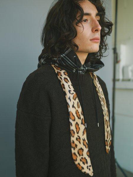 The Soloist. Fake Fur Leopard Shawl Collar - Beige