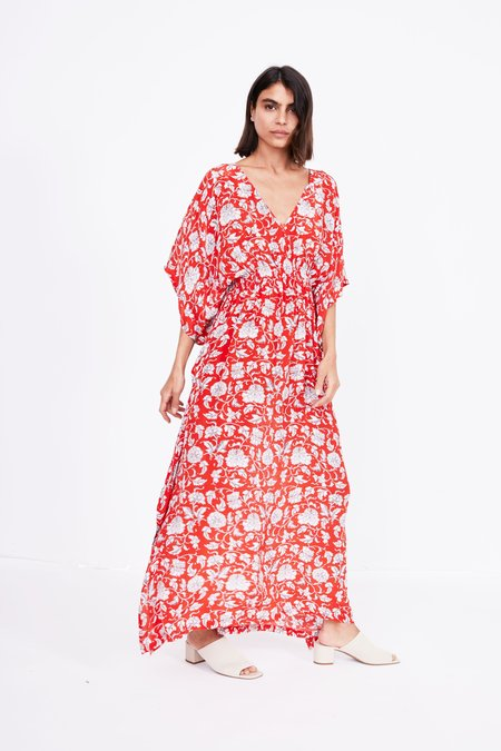 RUJUTA SHETH Marie Cinch Kaftan - Red Floral Print