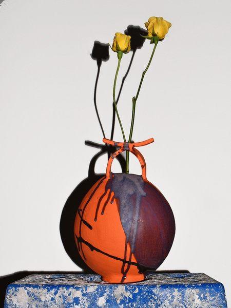 Kate Rosenberg Ceramics Vase - Orange/Aubergine