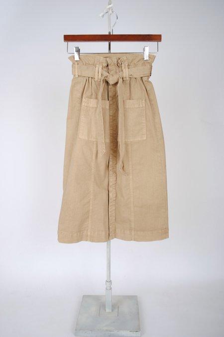 Mother Denim The Paperbag Patch Knee Skirt - Medium Khaki
