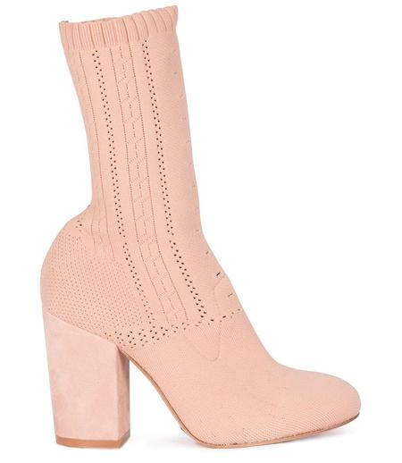 Elena Iachi Leather Stretch Ankle Boots - Nude