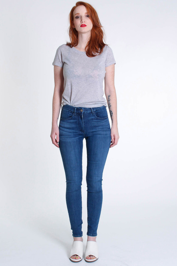 3x1 Channel seam high rise skinny in teras