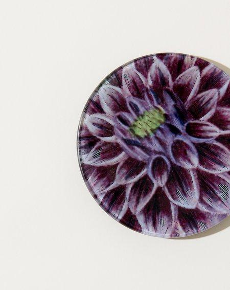 John Derian Purple Dahlia 4 Round Plate
