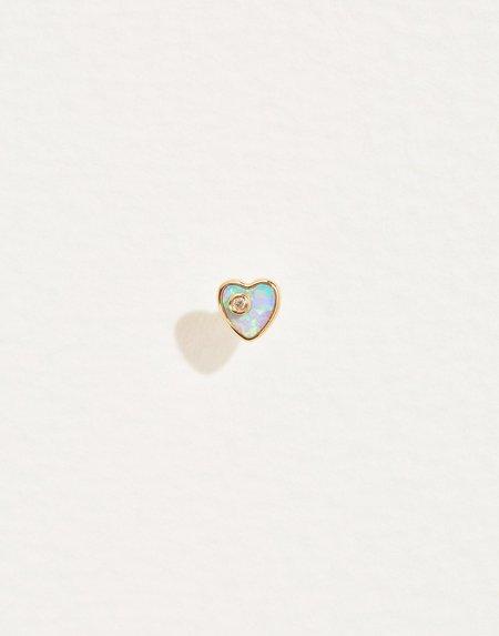 Pamela Love Heart Diamond Stud - 14k yellow gold