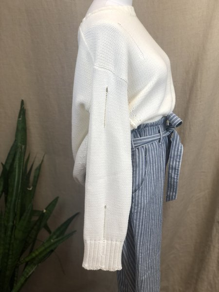 [pre-loved] Margaret O'Leary Distressed Sweater - White