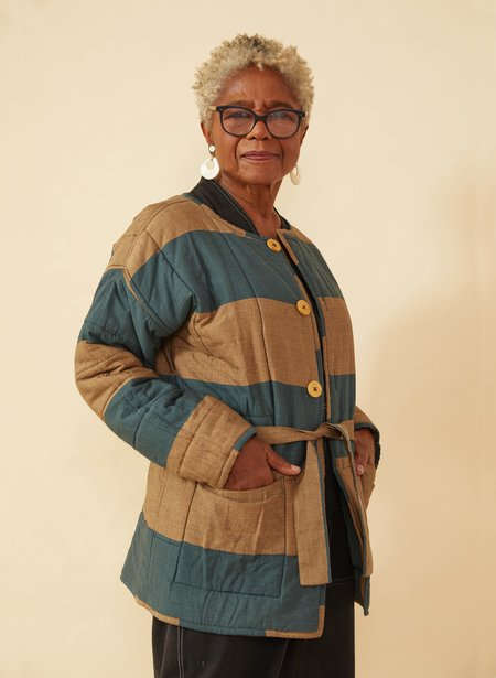 Seek Collective AM Quilted Coat - Fern/Camel Stripes