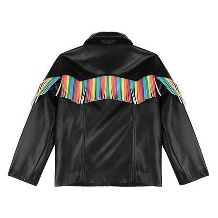 Kids Stella McCartney Vegan Leather Jacket With Rainbow Fringe - Black