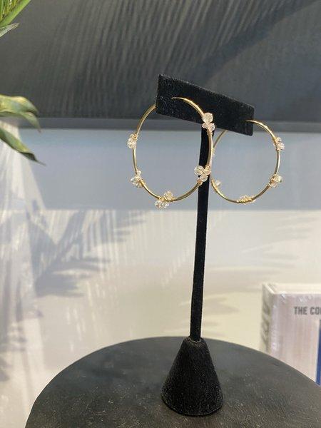The Loved One White Confetti Hoop Earrings - 14k gold/white topaz