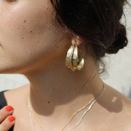 Annika Fine Large Touched Hoops in Brass