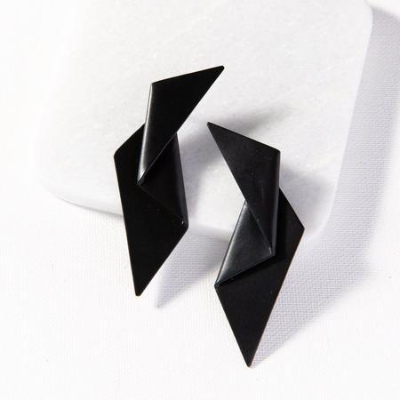 Ink + Alloy Origami Earring - Black Brass