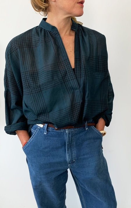 Two Long Sleeve Shirt - Teal Plaid