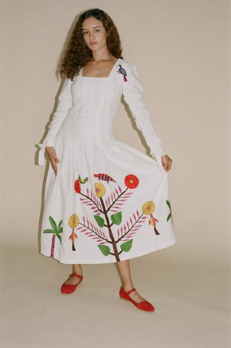Tigra Tigra Hand-Embroidered Tropical Kantha Dress - White