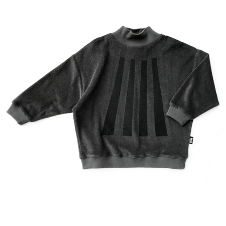 kids LITTLE MAN HAPPY Beams Terry High Collar Sweater - Black