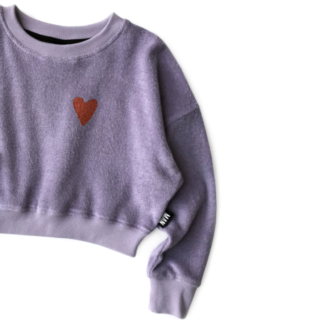 kids LITTLE MAN HAPPY Love Terry Cropped Sweater - Lavendar