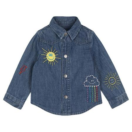 Kids Stella McCartney Baby Shirt With Weather Embroidery - Blue