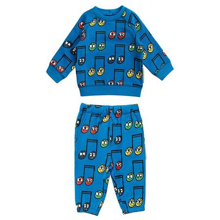 Kids Stella McCartney Baby Set With All Over Happy Notes Sweatsuit  - Print Blue