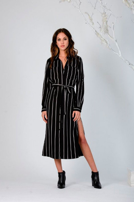 LUCCA Button-Up Stripe Shirtdress