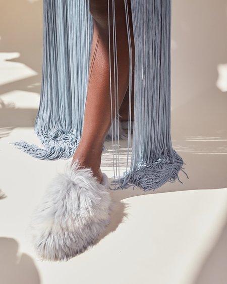 Ariana Bohling Bowie Alpaca Slipper - Grey/White