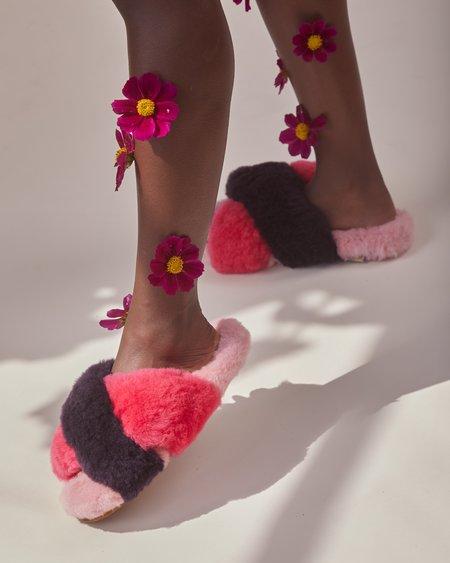 Ariana Bohling Criss Cross Alpaca Slipper - Plum/Fuchsia/Pink