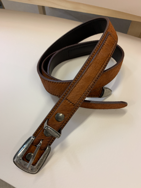 Lemaire Short Haired Cowhide Minimal Western Belt - Fawn Brown