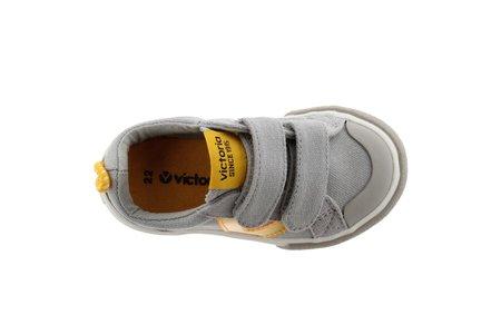 Kids Victoria Tribu Double Velcro Shoe - Grey/Fluor