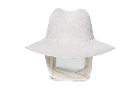 Clyde Aura Angora Hat  w. Neckshade - Alabaster