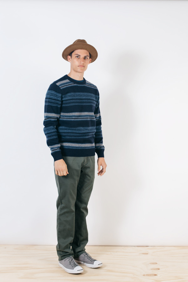 Men's Barque Stripe Sweater Navy