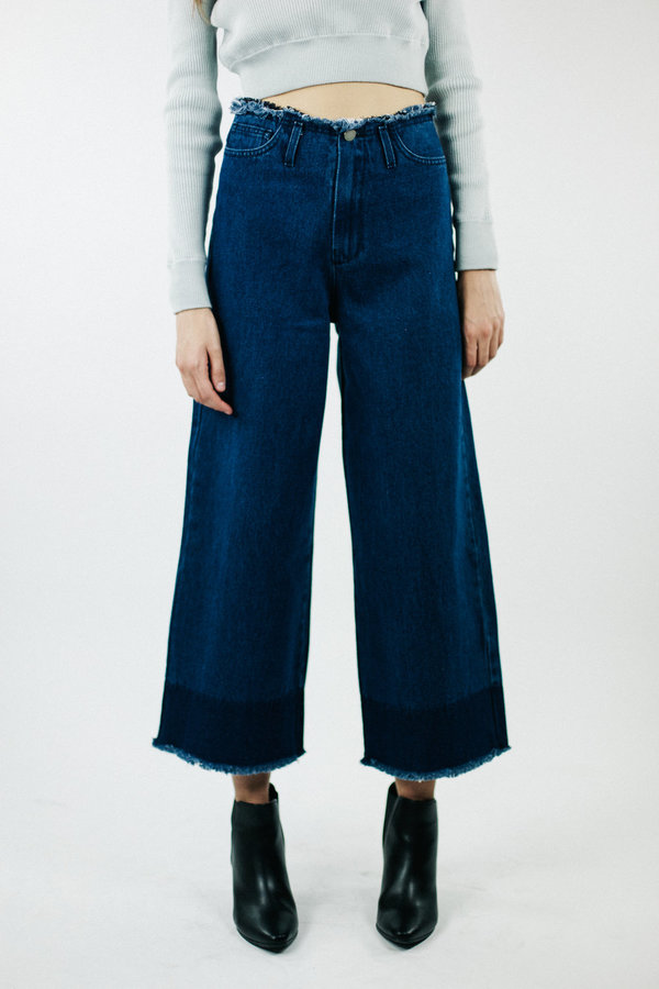 Achro Wide Leg Frayed Denim - Navy