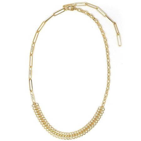 Joomi Lim Asymmetrical Chain & Crystal Link Necklace - 18k Gold