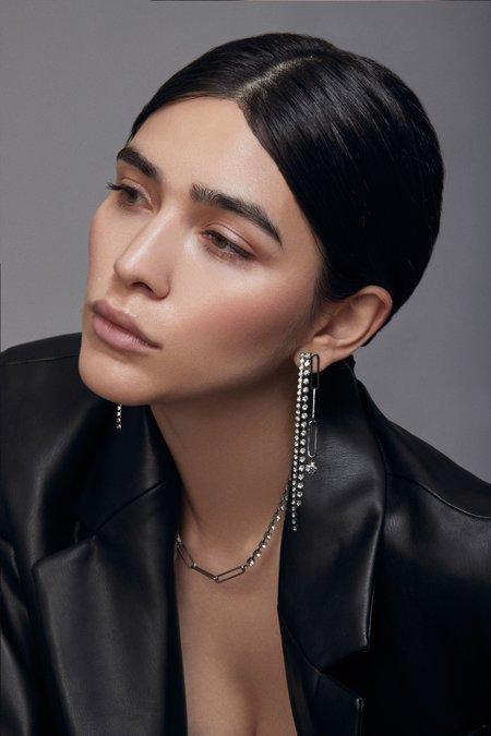 Joomi Lim Chain & Crystal Fringe Earrings - Brass/Swarovski/Ruthenium