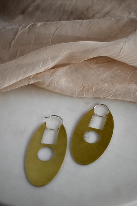 Modern Madini Oval Disc Hoop Earrings with Geometric Cutouts - Brass