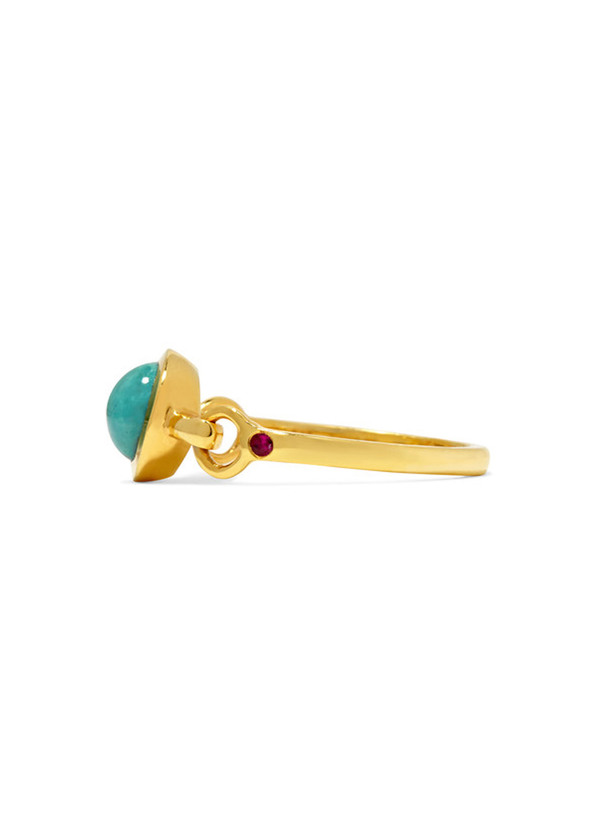 Scosha Rio gold-plated turquoise and ruby ring