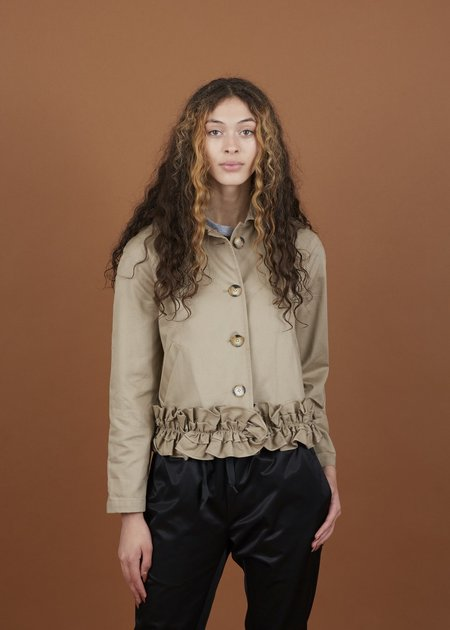 Harvey Faircloth Ruffle Bottom Jacket - Khaki