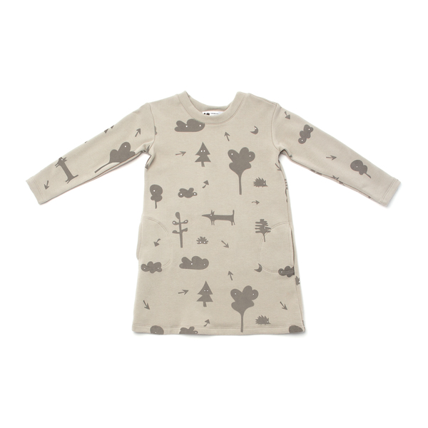 OMAMImini Grey Sweatshirt Dress with Secret Forest Print