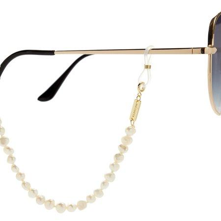 Machete mixed fresh water pearl sunglass chain - yellow + white