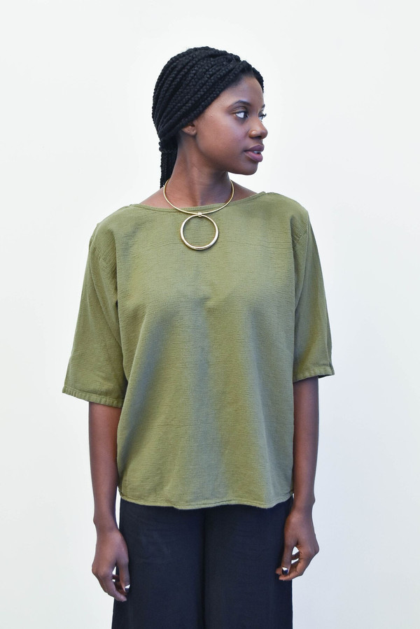 Esby Laura Open Back Top in Olive