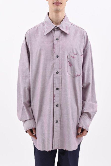 Marni Distressed Oversized Chambray Dress Shirt - Dirty Plum