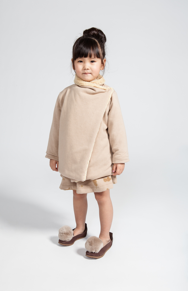 OMAMImini Camel Draped Jacket with Faux Fur